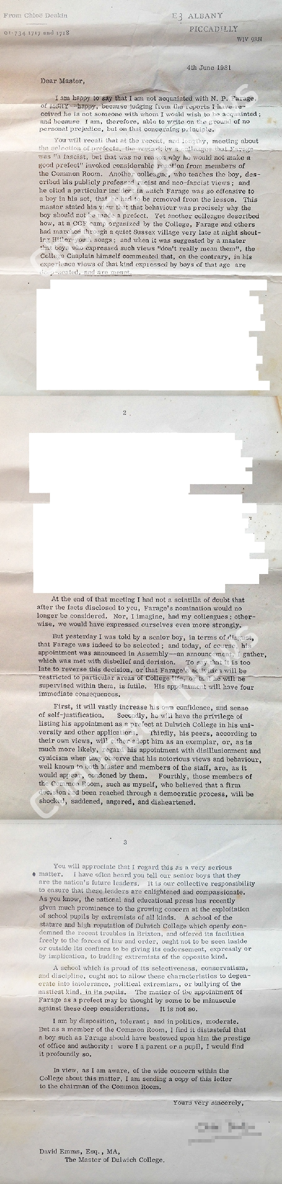 FARAGE School Letter 1981 01