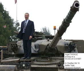FARAGE, Nigel 97b Posing on a Museum Chieftain Mk 10