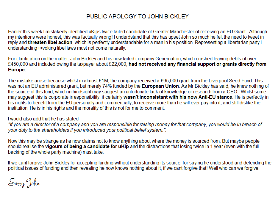 BICKLEY, John Anon APPOLOGY 11-Nov-2014 01