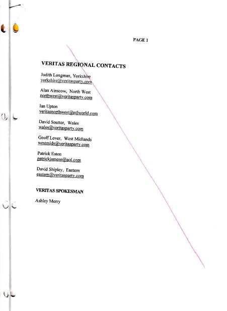 Ukip BLACKLIST 05 VERITAS REGIONAL
