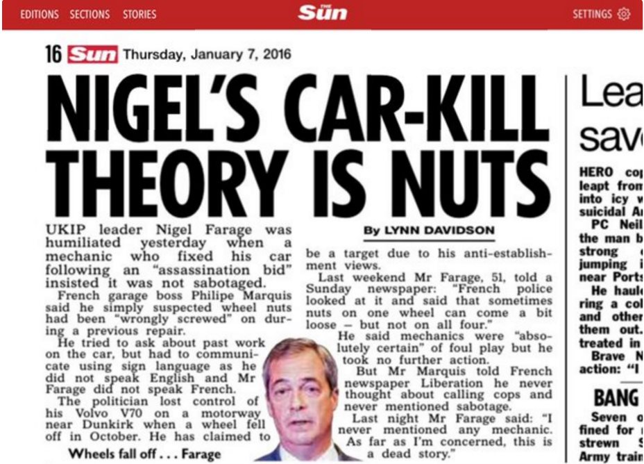 FARAGE Nigel Wheels Fall OFF Story