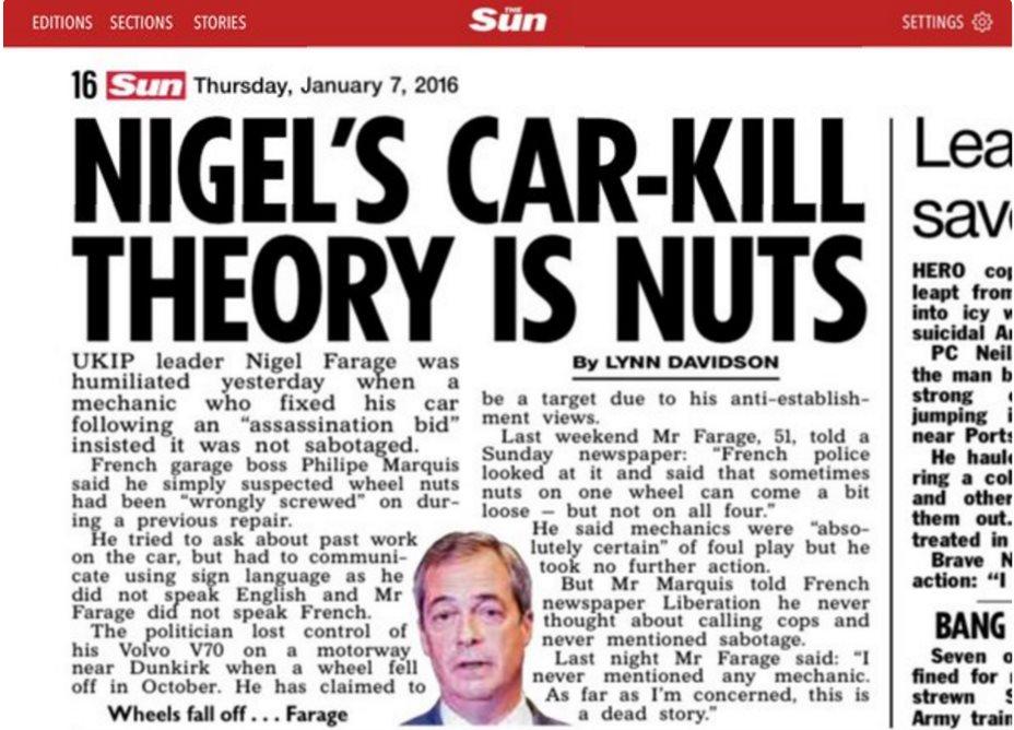 FARAGE Nigel Wheels Fall OFF Story