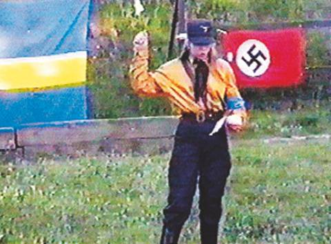 Sweden Democrats Councillor Tina Hallgren Bengtsson photographed in full Nazi regalia
