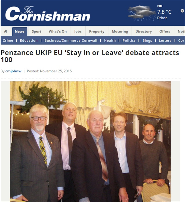 Despite evidence being presented, UKIP National Chairman, Steve Crowther  (left) still endorsed Stuart Guppy (centre) by appearing at one of his  events.