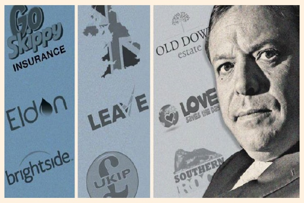 Arron Banks with some of his many business and political interests © FT  Montage