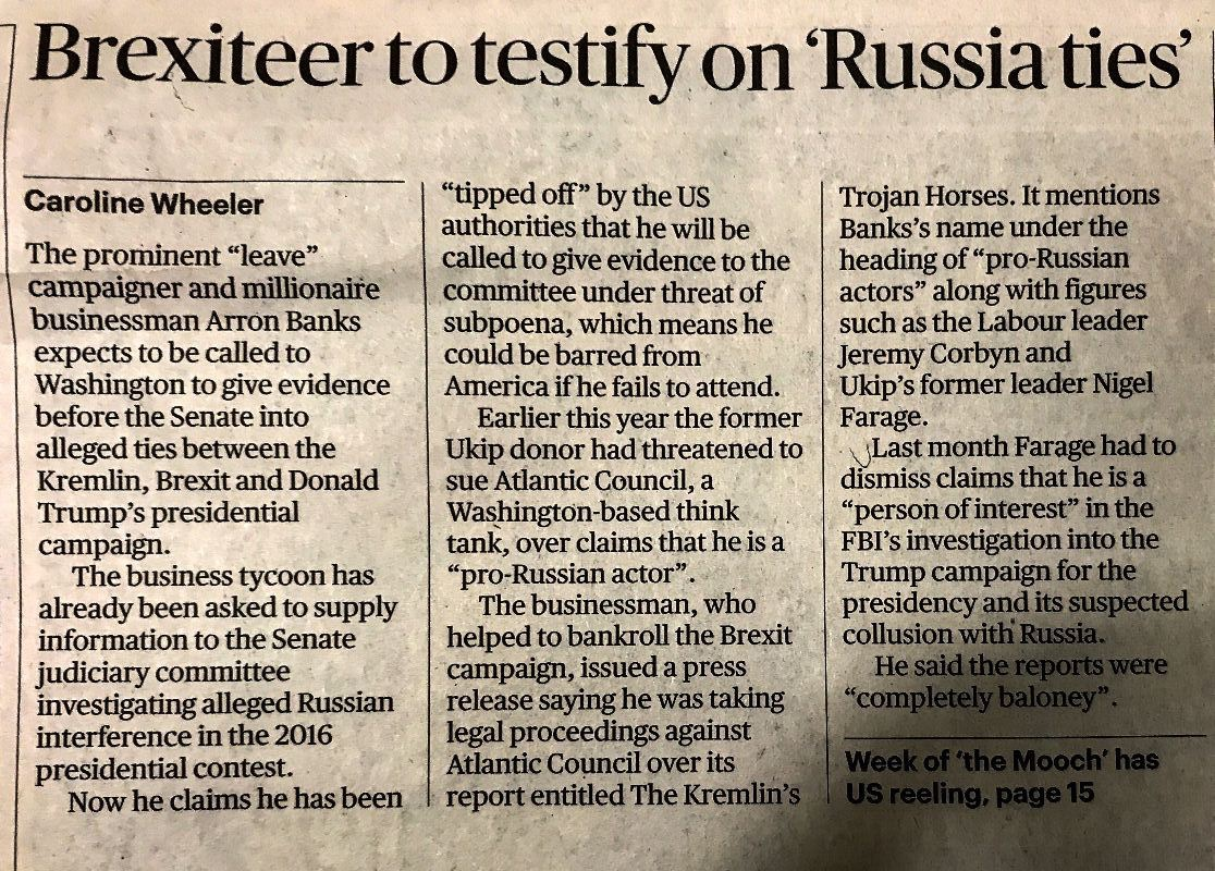 Times re Arron BANKS & Russia 01