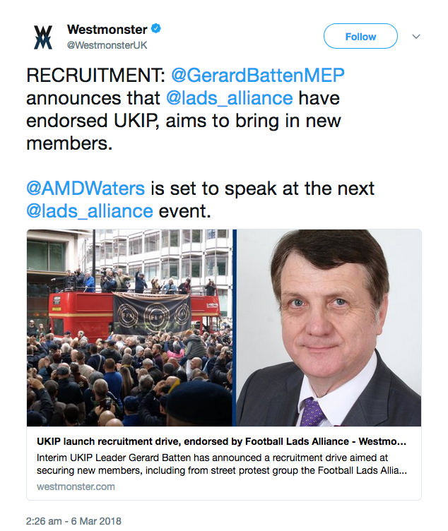 """Arron Banks' propaganda site Westmonster has also told """"Interim UKIP Leader  Gerard Batten has announced a recruitment drive aimed at securing new  members, ..."""